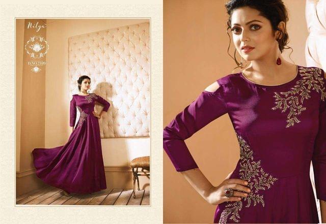 Purple Color Heavy Muslin Long Gown Kurti sty-2109