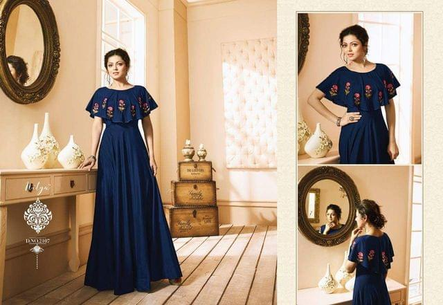 Navy Blue Color Heavy Muslin Long Gown Kurti sty-2107
