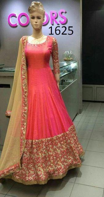 Pink Color Paper Silk Anarkali Salwar Suit 1625