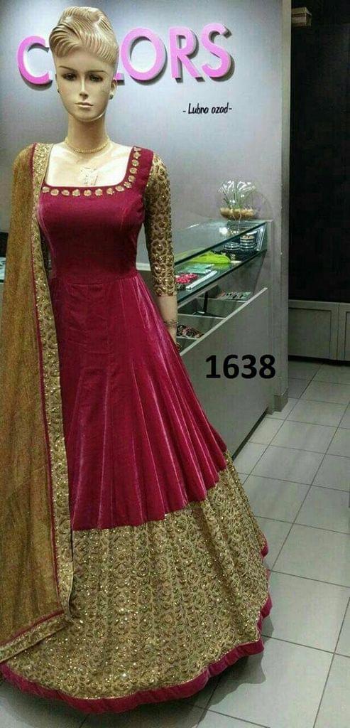 Maroon  Color Paper Silk Anarkali Salwar Suit Sty-1638