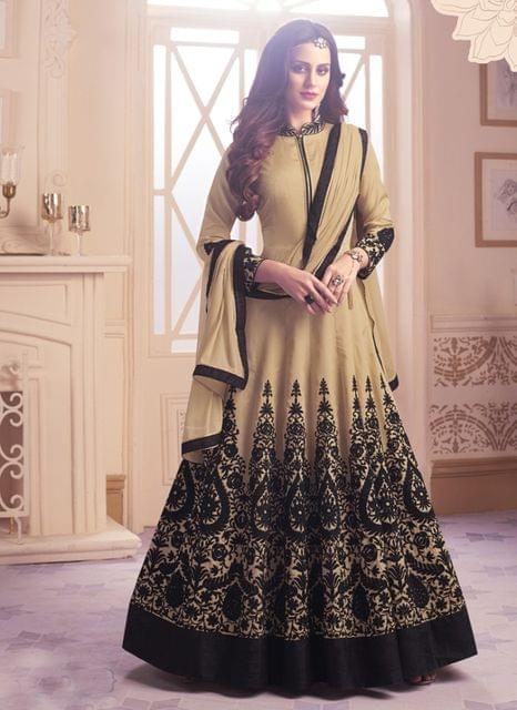 Beige & Black Color Taffeta Anarkali Salwar Suit 27855