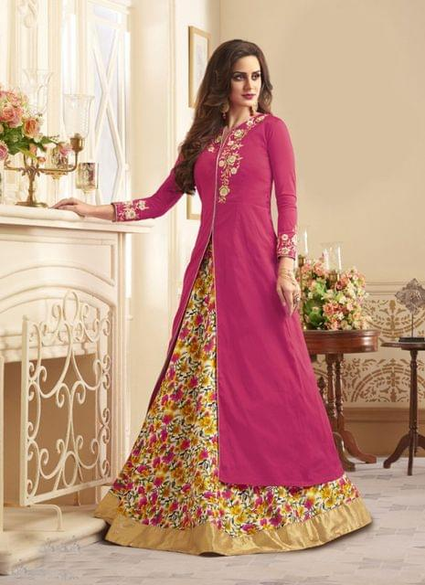Pink Color Designer Semi Stitched Salwar Suit 27850