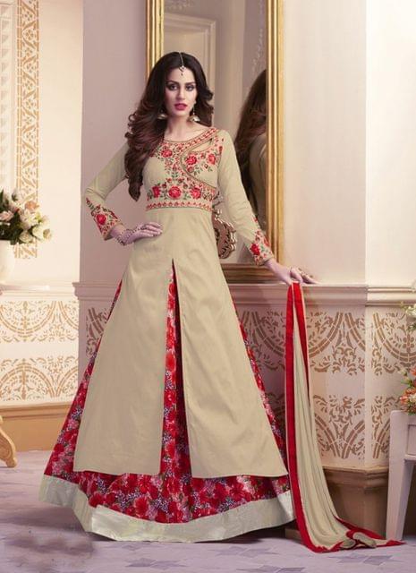 Beige Color Designer Semi Stitched Salwar Suit 27852