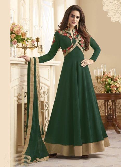 Green Color Designer Semi Stitched Salwar Suit 27854