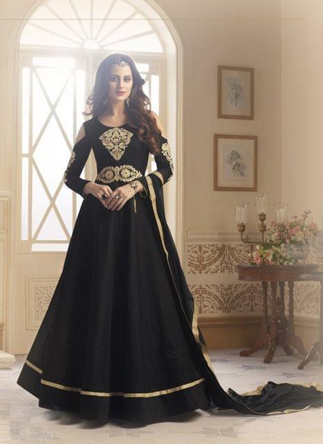 Black Color Designer Semi Stitched Salwar Suit 27856