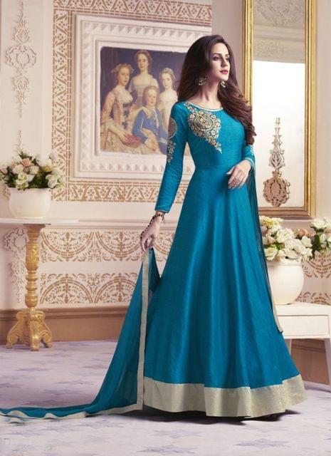 Peacock Blue Color Designer Semi Stitched Salwar Suit 27851