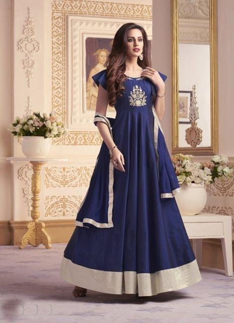 Navy Blue Color Designer Semi Stitched Salwar Suit 27853