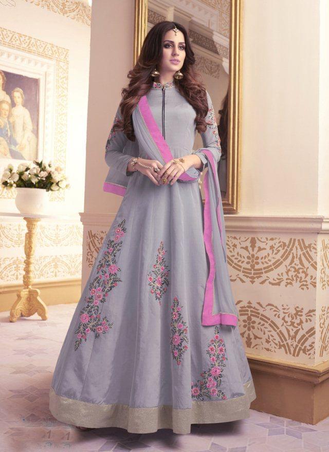 Gray Color Designer Semi Stitched Salwar Suit 27857