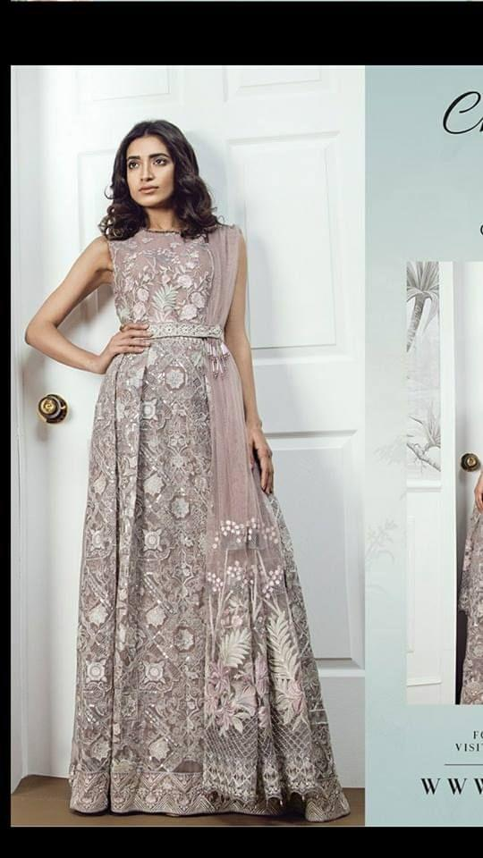 Light Grey Color Fox Georgette Dress Material  sty-1130