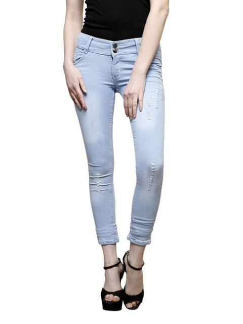 Two Button Damage Ice Girls Jean