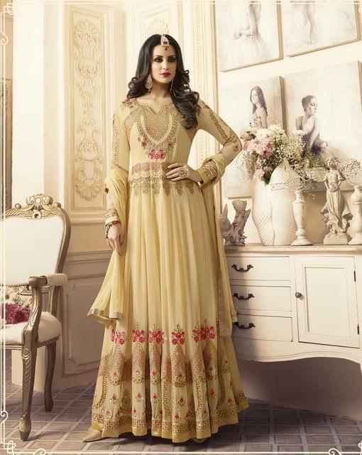 Cream Color Georgette  Semi Stitched Anarkali Salwar Suit  28864