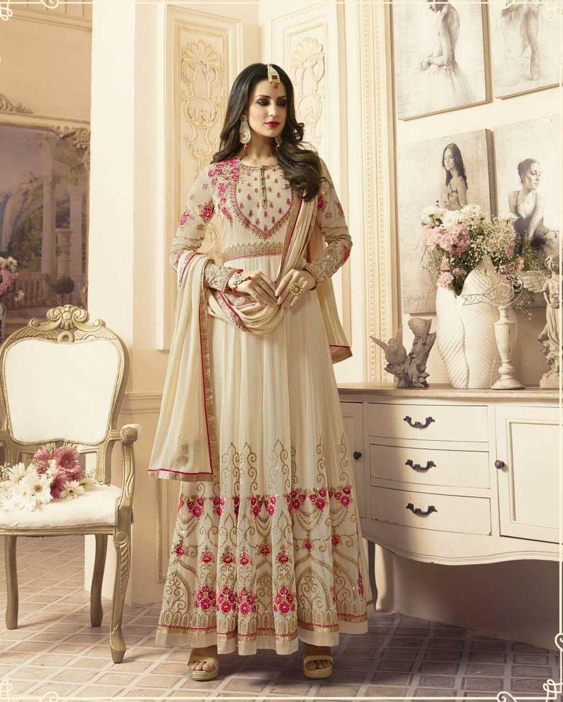 Off White Color Georgette   Semi Stitched Anarkali Salwar Suit  28868