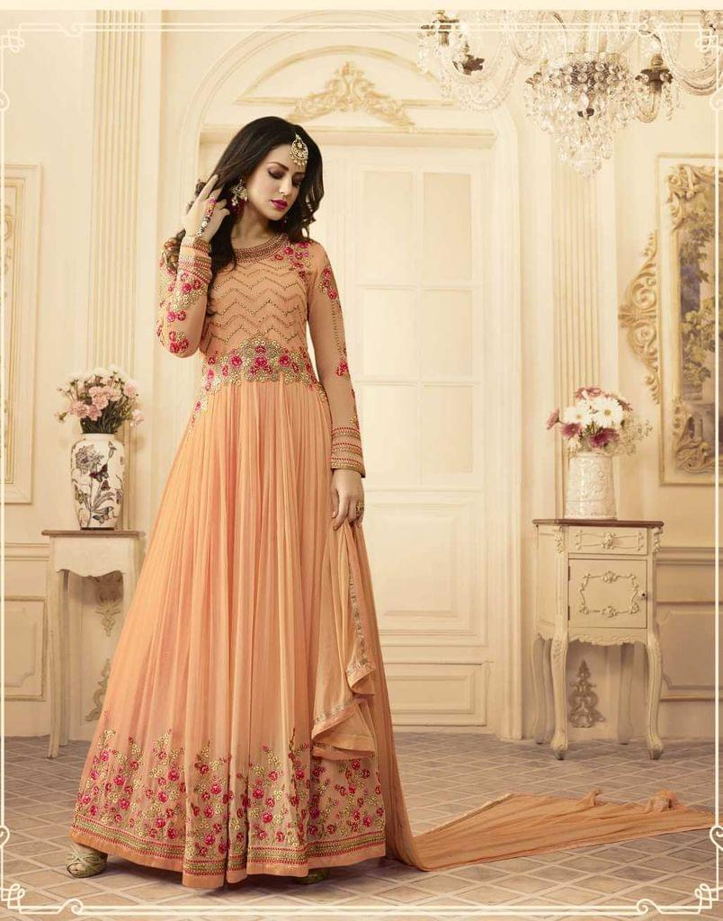 Light Orange Color Georgette   Semi Stitched Anarkali Salwar Suit  28870