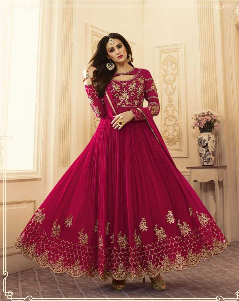 Pink Color Georgette  Semi Stitched Anarkali Salwar Suit  28863