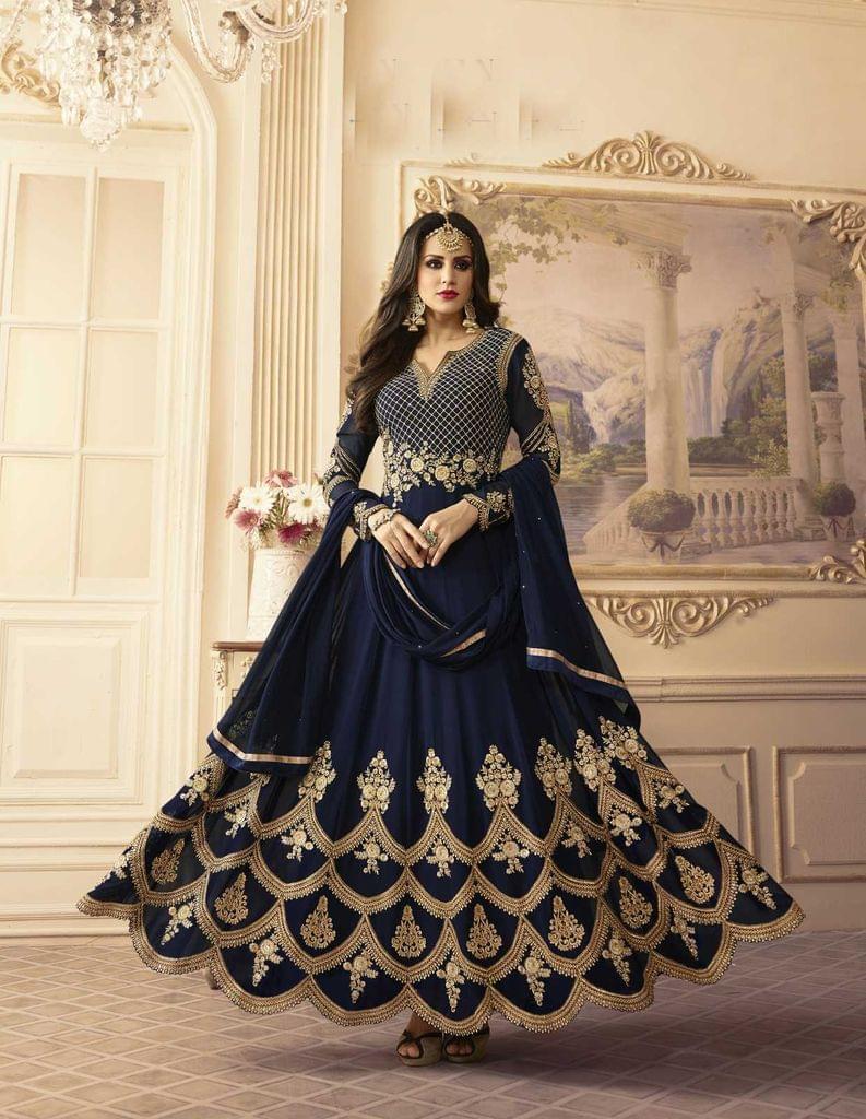 Navy Blue Color Georgette   Semi Stitched Anarkali Salwar Suit  28865