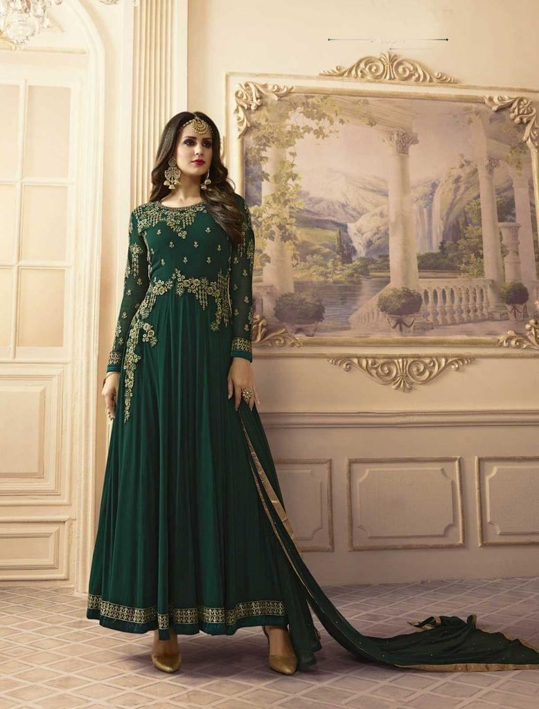 Deep Green Color Georgette   Semi Stitched Anarkali Salwar Suit  28867