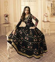 Black Color Georgette   Semi Stitched Anarkali Salwar Suit  28869