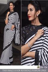 Black & White Color Georgette Printed  Saree SN-104