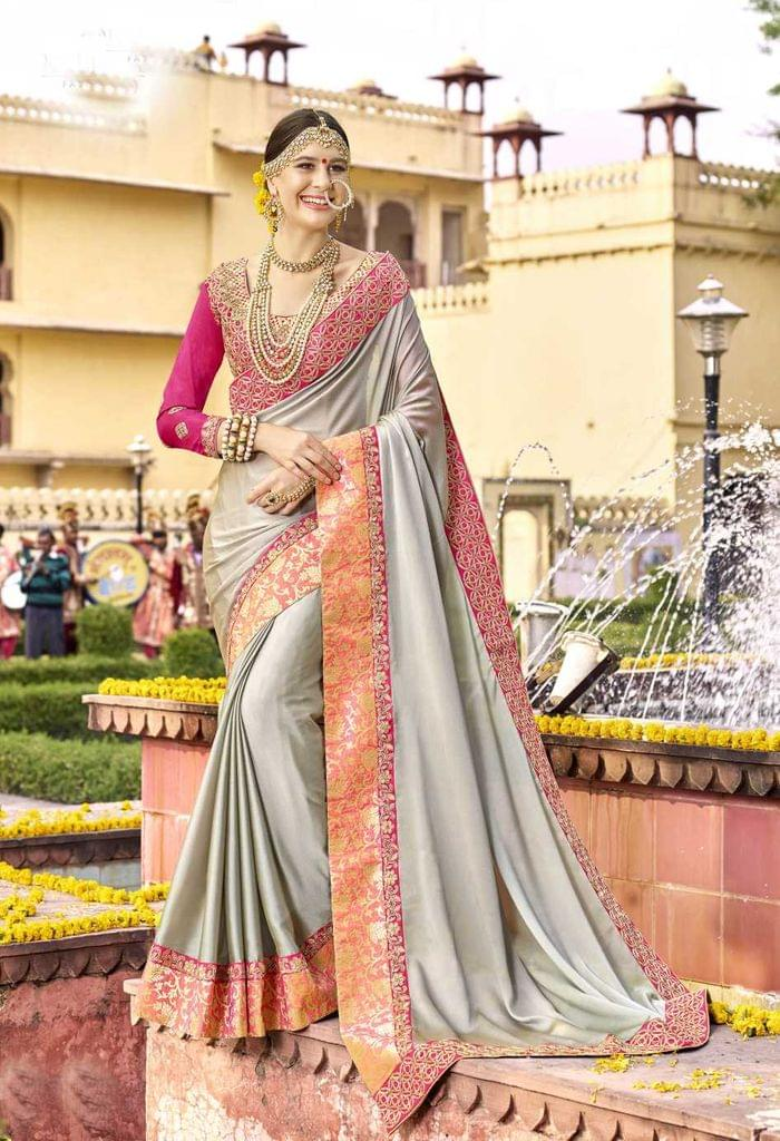 Light Grey  Color Designer Embroidery Work Saree 29745