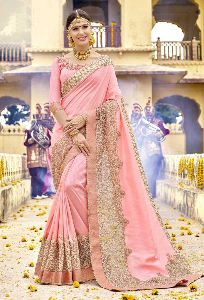 Light peach Color Designer Embroidery Work Saree 29747