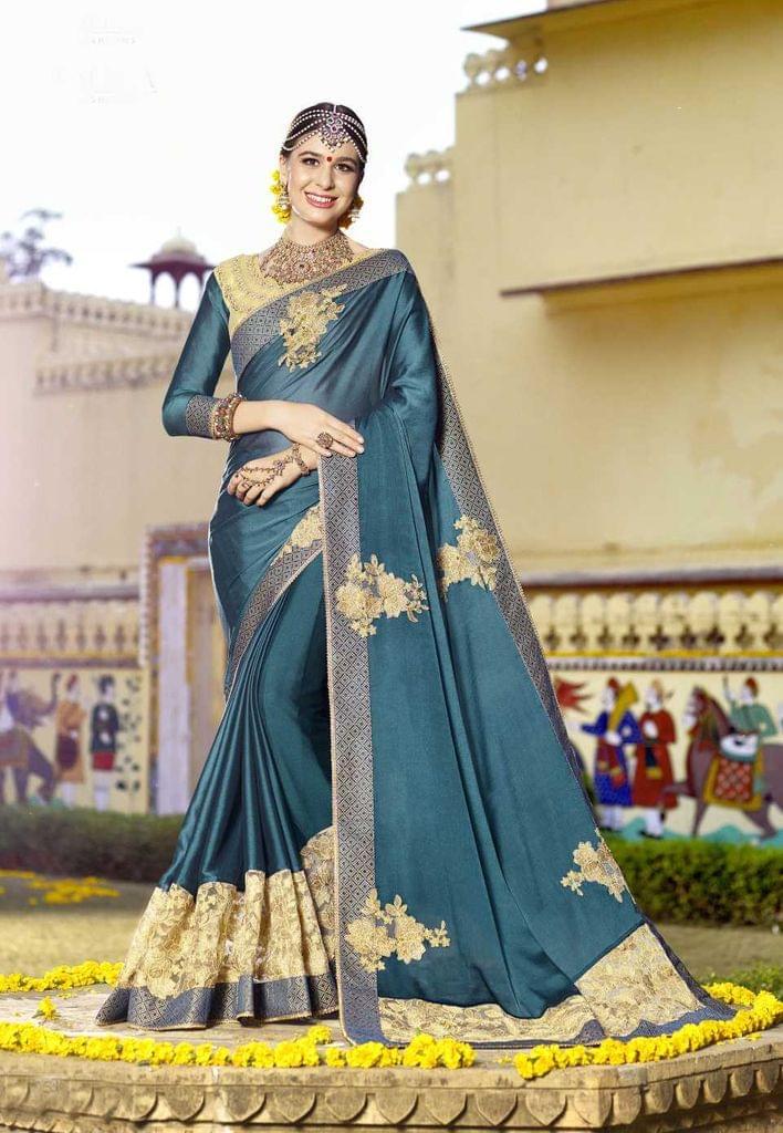 Blue Rama Color Designer Embroidery Work Saree 29749