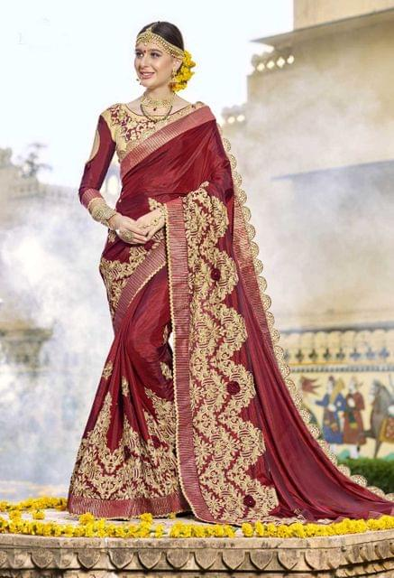Marron Color Designer Embroidery Work Saree 29744