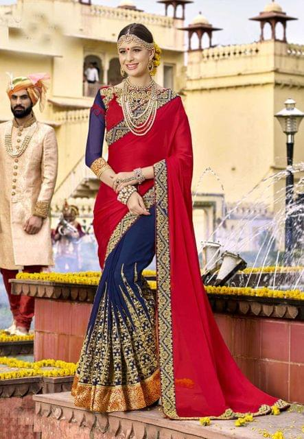 Red & Blue Color Designer Embroidery Work Saree 29746