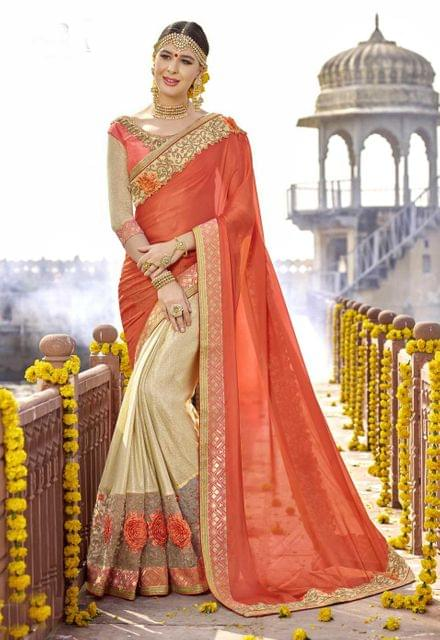 Cream & orange Color Designer Embroidery Work Saree 29748