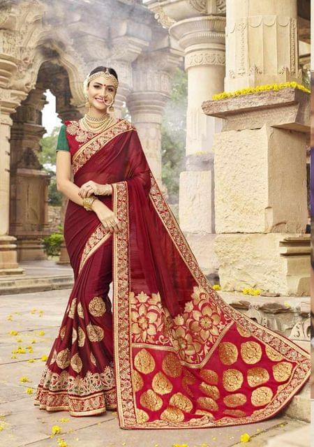 Redish Brown Color Designer Embroidery Work Saree 29758