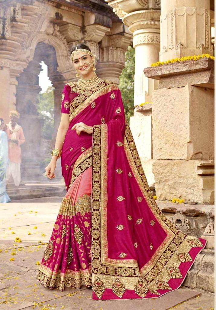 Pink & peach Color Designer Embroidery Work Saree 29760