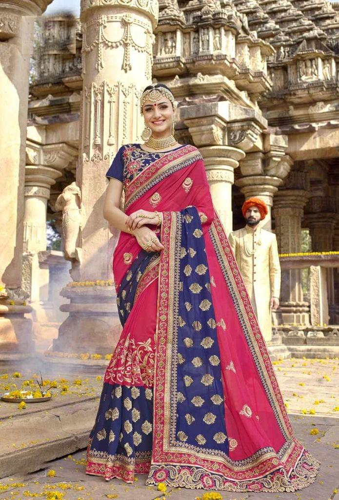 Blue & pink Color Designer Embroidery Work Saree 29762