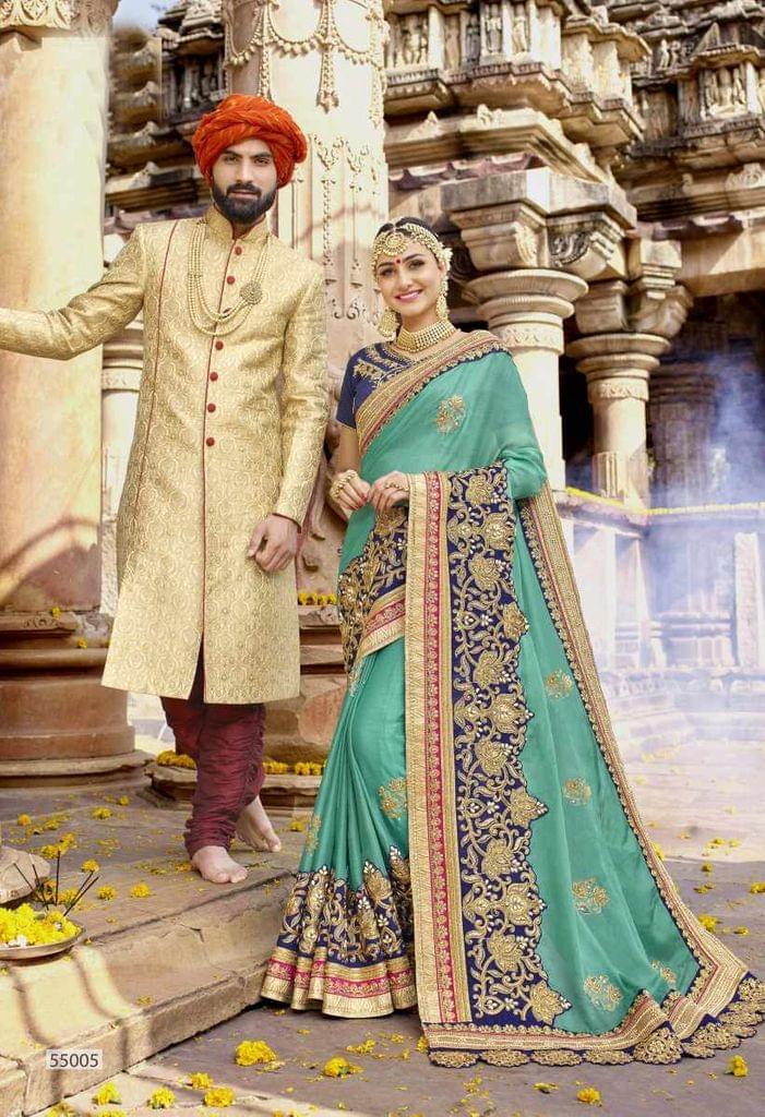 Rama Green & Blue Color Designer Embroidery Work Saree 29759