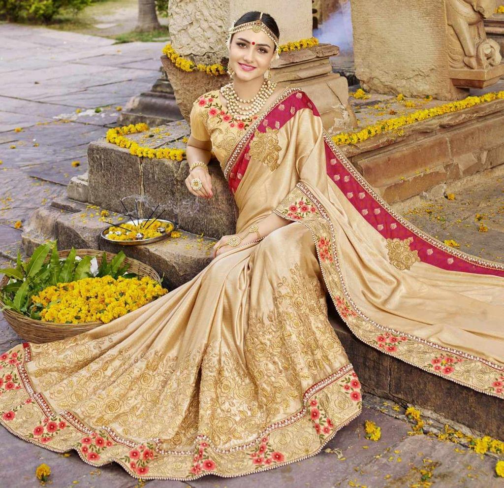 Cream Color Designer Embroidery Work Saree 29761