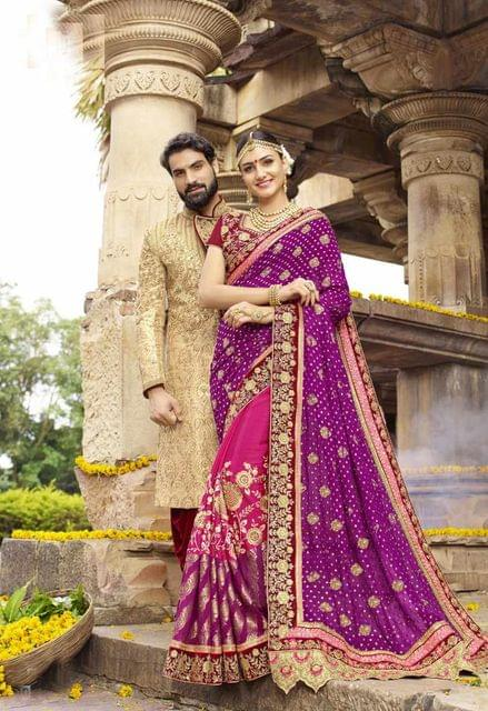 Purple & Pink Color Designer Embroidery Work Saree 29764