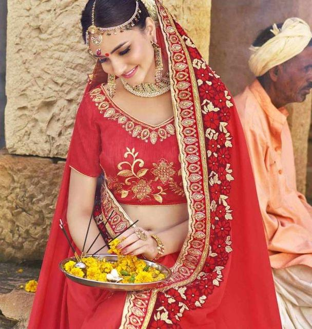 Red Color Designer Embroidery Work Saree 29755