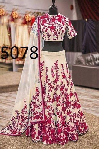 Red Color Banglory Lehenga Choli 5078- Red