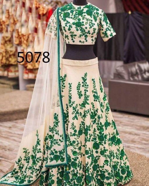 Green Color Banglory Lehenga Choli 5078-Green