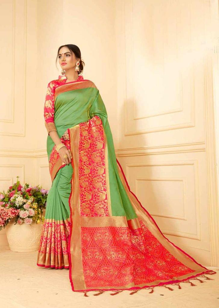 Green Color Designer Trendy Silk Saree 30526