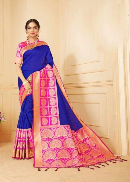 Blue Color Designer Trendy Silk Saree 30527