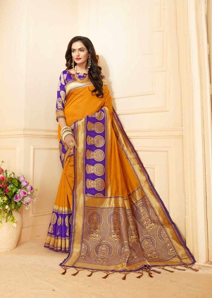 Yellow Color Designer Trendy Silk Saree 30528