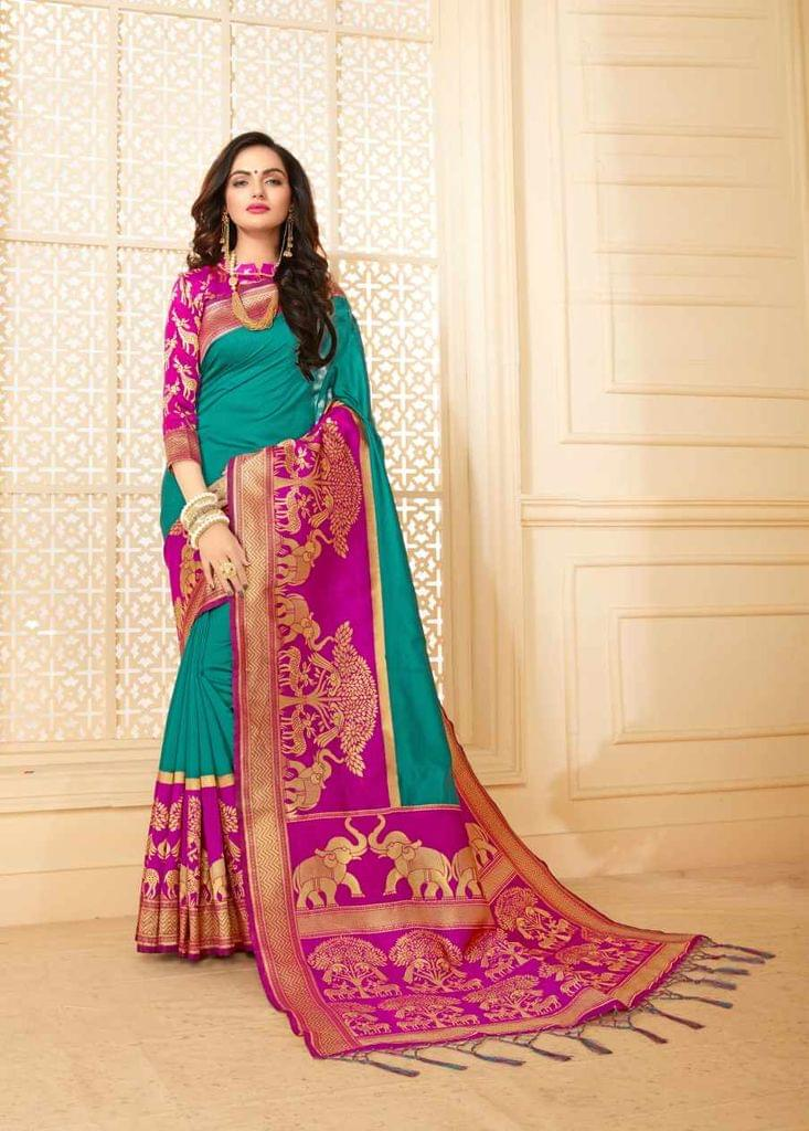 Teal Color Designer Trendy Silk Saree 30529