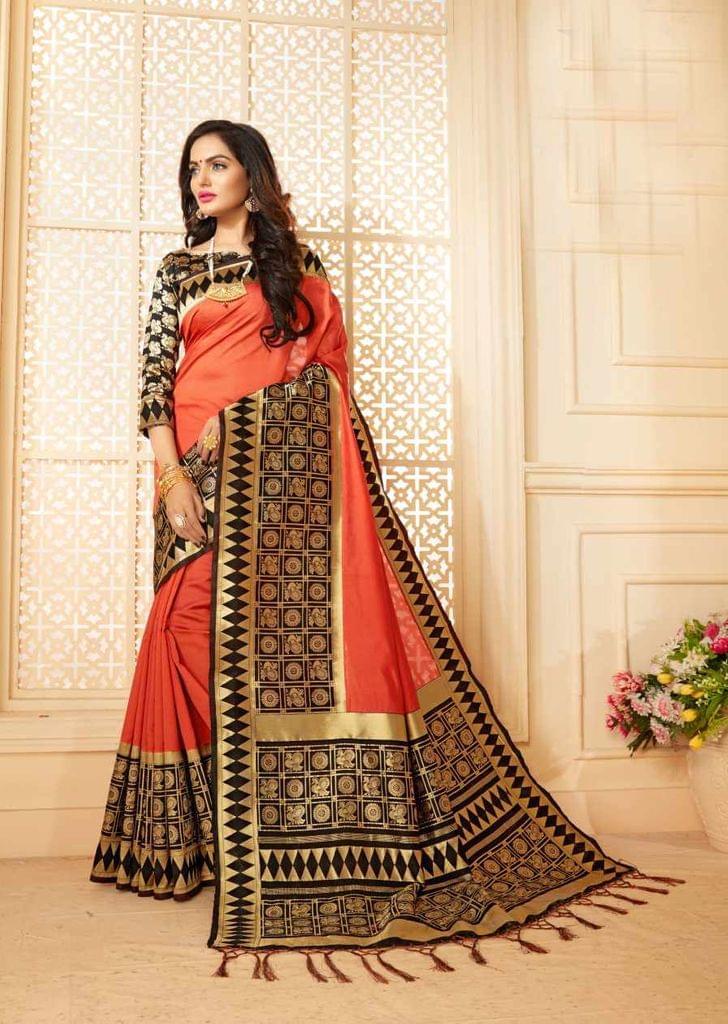 Peach Color Designer Trendy Silk Saree 30530