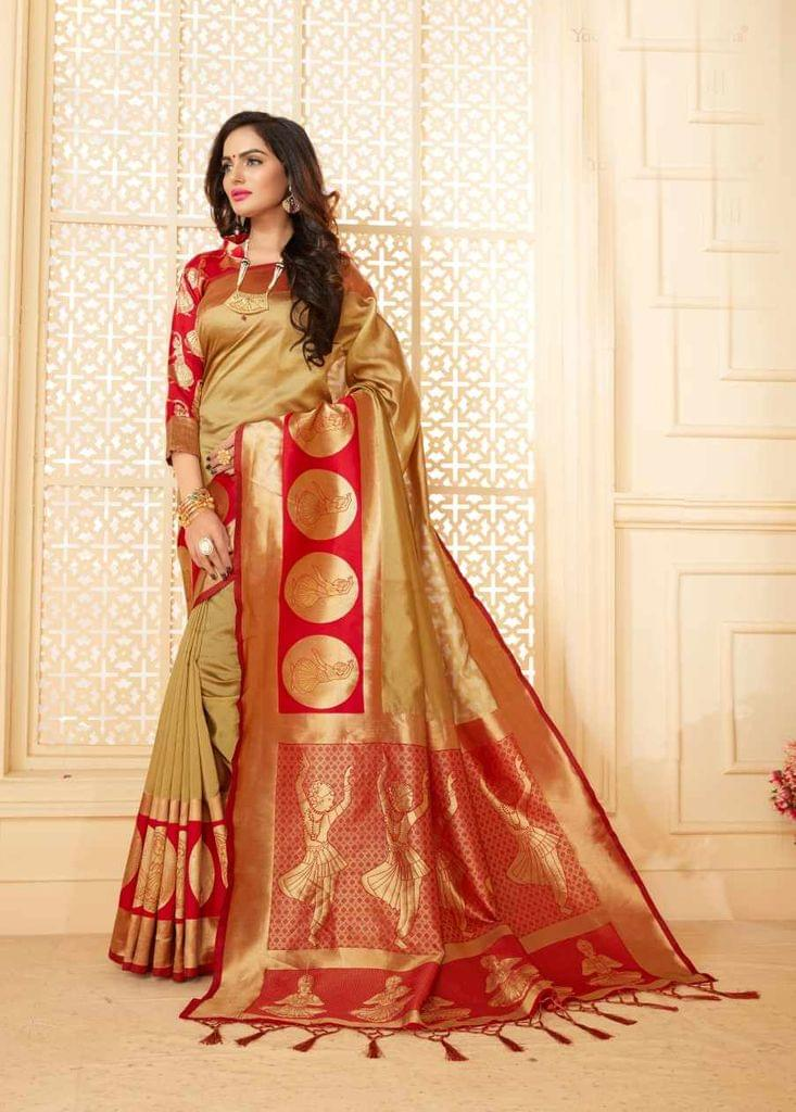 Beige Color Designer Trendy Silk Saree 30531