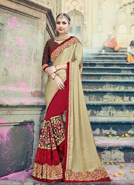 Cream & Red Color Designer Heavy Embroidery Work Saree 30551