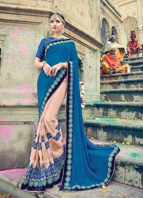Blue & Pink Color Designer Heavy Embroidery Work Saree 30552