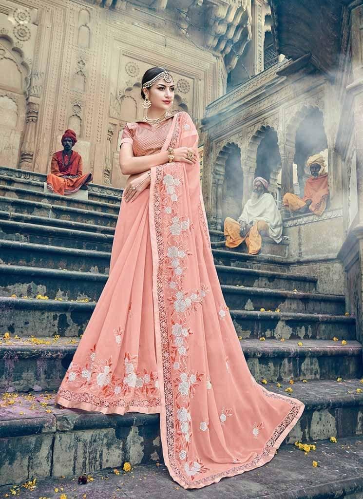 Peach Color Designer Heavy Embroidery Work Saree 30553