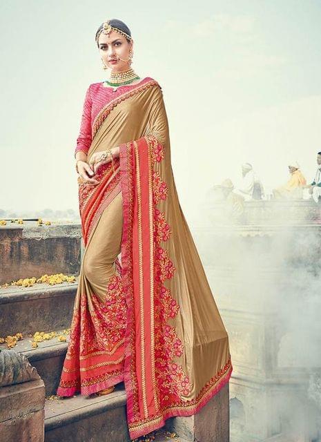 Cream & Pink Color Designer Heavy Embroidery Work Saree 30554