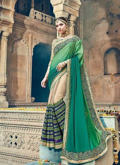 Green & Cream Color Designer Heavy Embroidery Work Saree 30556