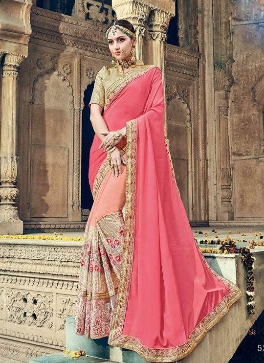 Pink Color Designer Heavy Embroidery Work Saree 30557