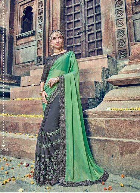 Green & Grey Color Designer Heavy Embroidery Work Saree 30558